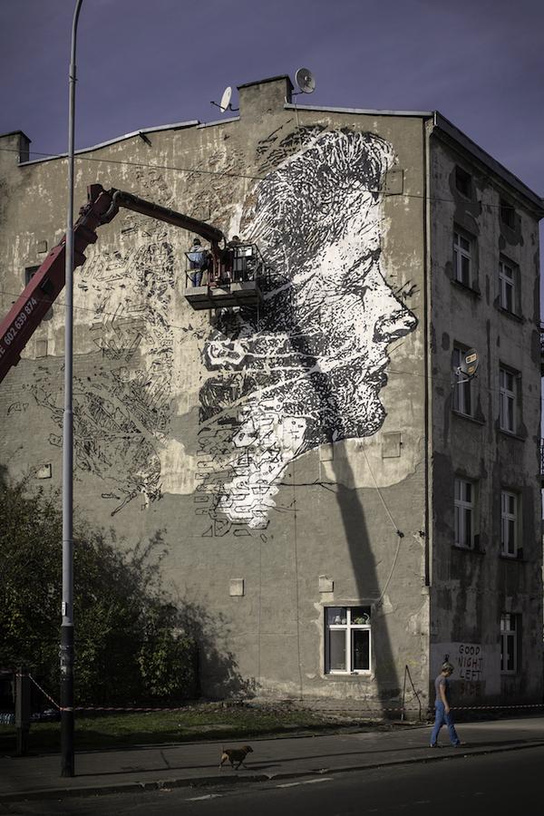 Vhils Mural In Lodz Poland
